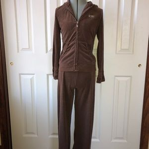 BCBG Brown Hoodie and Pants Set Rhinestoned Logo